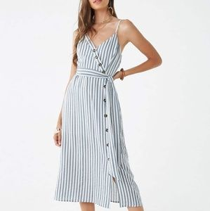Striped midi dress with asymmetrical buttons